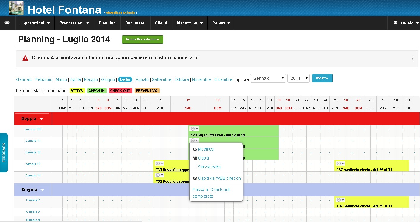 Calendario Prenotazioni Excel.Software Gestionale Gratuito Per Hotel E B B Cloud Hotel It